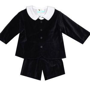Baby Boy Elton velvet short suit in black no shirt